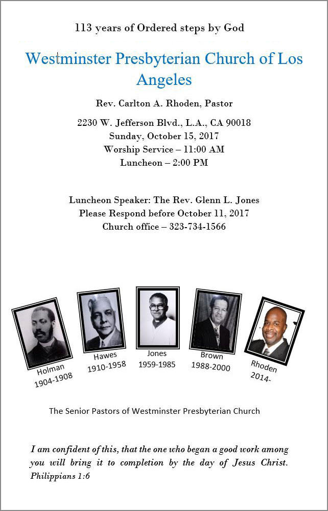 Anniversary Luncheon - Westminster Presbyterian Church of Los Angeles Event